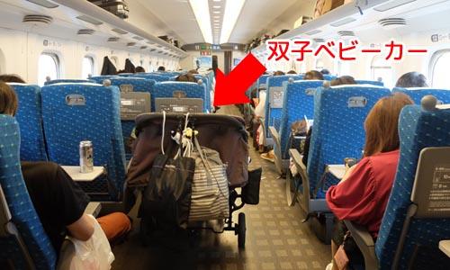 新幹線に双子ベビーカーが乗っている写真