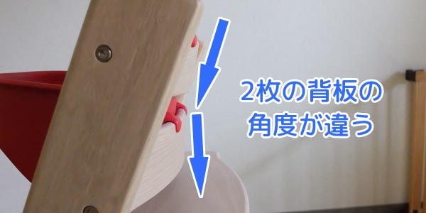 トリップトラップの2枚の背板はそれぞれ違った角度になっている